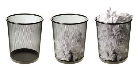 Three garbage cans going from empty to full, isolated on a white background  Stockfoto