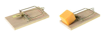 An empty mousetrap and a set mousetrap with a cube of cheddar cheese, isolated on a white background Stock Photo - 16402743