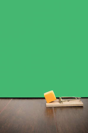 Mousetrap set with cheddar cheese on a floor, next to a mouse hole Stock Photo - 16402755