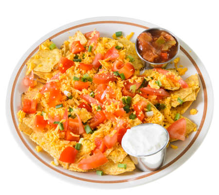 A plate of nachos and cheese, isolated on a white background  Stock Photo - 16402791