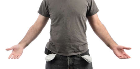 A broke man with empty pockets, isolated on a white background Stock Photo - 17233670