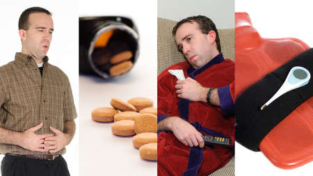 A collage featuring images associated with having the flu