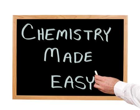 Chemistry made easy is written in chalk on a chalkboard