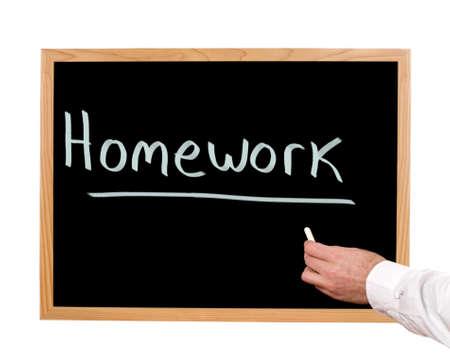 Homework is written in chalk on a chalkboard