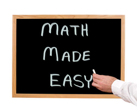 Math made easy is written in chalk on a chalkboard  Stock Photo
