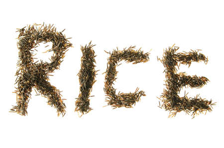 wild rice grains made to spell out rice