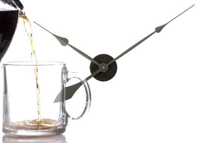 Clock hands making it  seem like its coffee time
