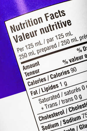 Closeup of a nutrition label, showing calories and fat.