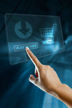 a woman hand add to cart on screen