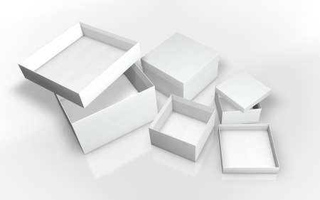 a series of white cardboard box 3d illustration Stock Photo