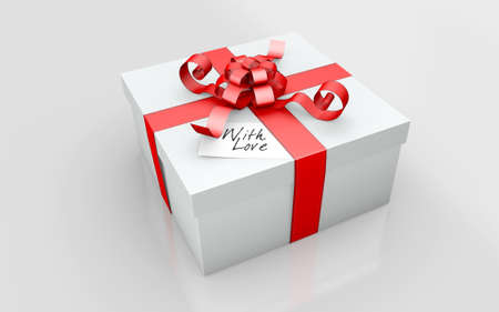 a gift on a white cardboard Stock Photo
