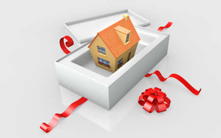 patrimony: a house in a white cardboard and red ribbon Stock Photo