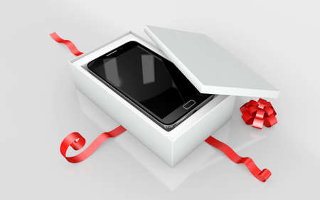 a mobile phone in a white cardboard and red ribbon