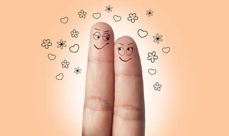 suitor: a finger couple in love Stock Photo