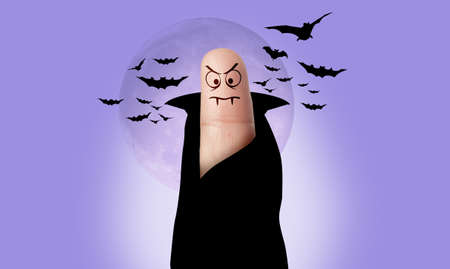 a finger dressed as Dracula for Halloween Stock Photo