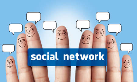 a group of finger and social network Stock Photo