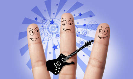 a group of finger play music Stock Photo