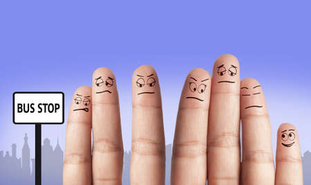 A group of finger waiting for the bus