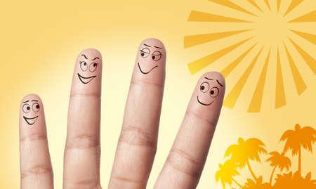 a family finger a the beach