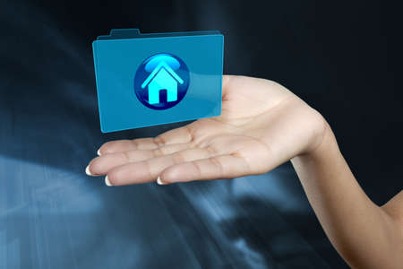 a digital folder floats on a woman s hand