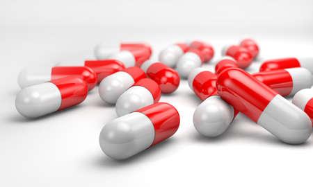 gelatina: Cápsulas de gelatina 3d en un fondo blanco