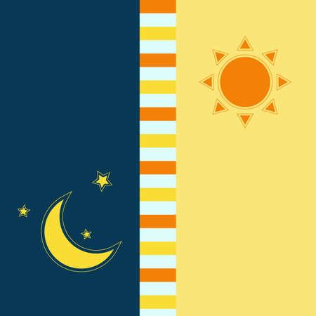 the sun and the moon vector eps10