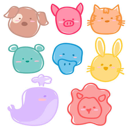 Cute animals in many colors vector eps10