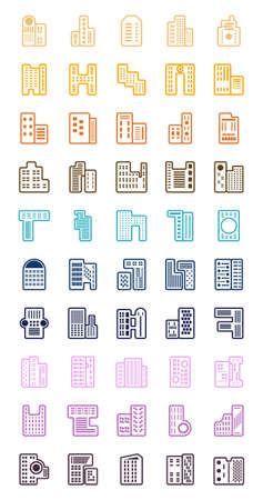 Building icons set for web