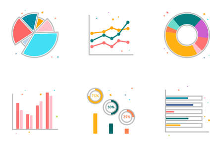 Chart 6 icons vector eps10 Illustration