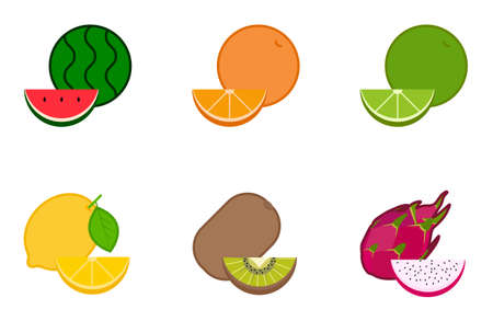 Fruits 6 icons vector eps10 Stock Vector - 127454932