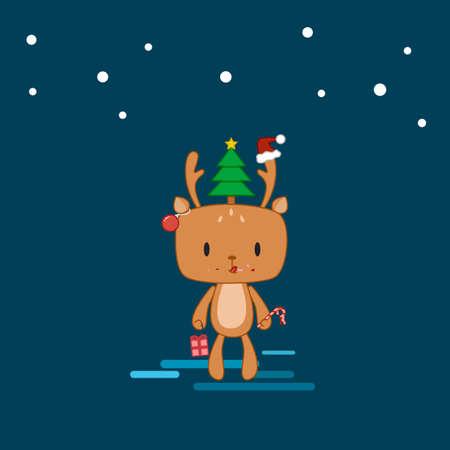 Reindeer on Christmas vector eps10 Illustration