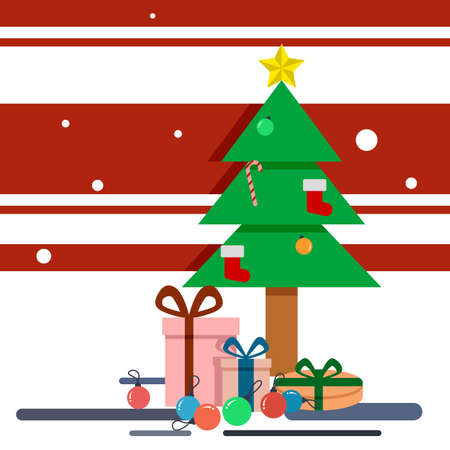 Christmas Tree with gifts and ornament vector eps10