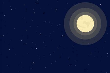 Full Moon in the sky vector eps10