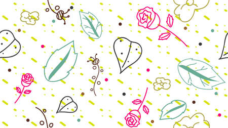 Flowers and Leaves Pattern Abstract Background vector eps10 Illustration