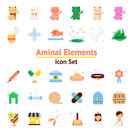 Animal Elements vector icon set  イラスト・ベクター素材