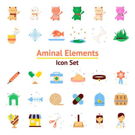 Animal Elements vector icon set Illustration