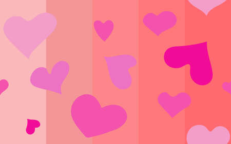 Many hearts on wallpaper in many shade of pink