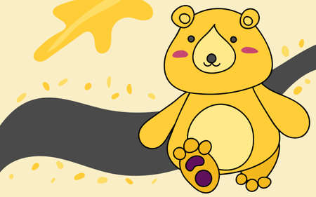 Yellow cute bear walking with smile face in good mood