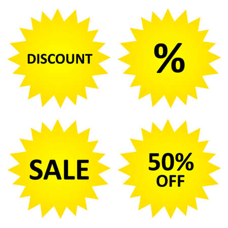 Discount stickers, sale, 50% off.