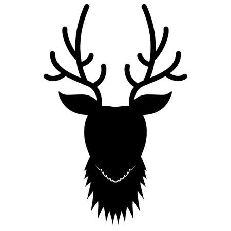Black deer head silhouette Illustration
