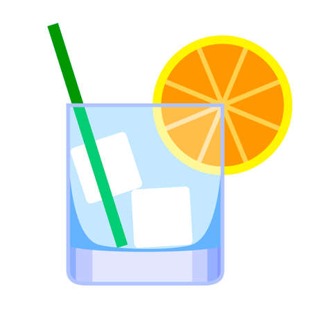 Cocktail. A glass for whiskey colored with a green straw for drinking and a yellow lemon. Beverage Tube and Orange.