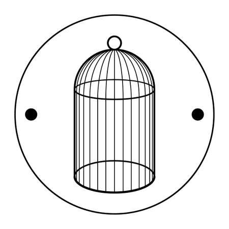 Le deuxième côté du Thaumatrop. Cage pour oiseau. Noir et blanc. Un vieux jouet animé du 19ème siècle. Jouet victorien. Banque d'images - 88182451