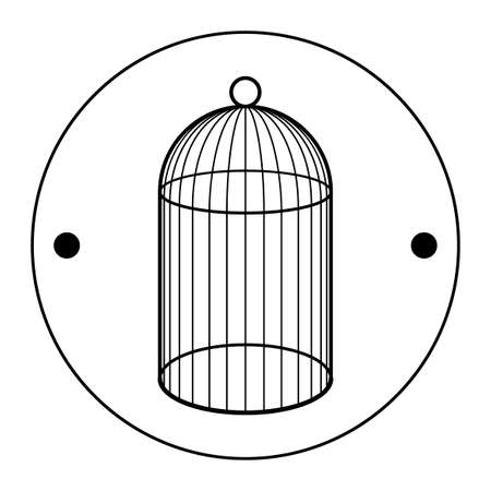 The second side of the Thaumatrop. Cage for bird. Black and white. An old animated toy of the 19th century. Victorian toy.