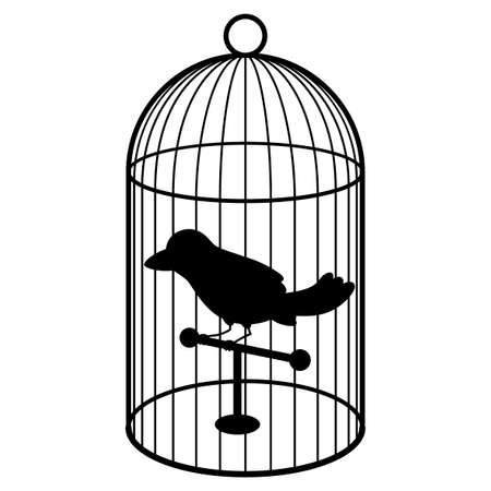 A simple bird in a cage. Black and white silhouette