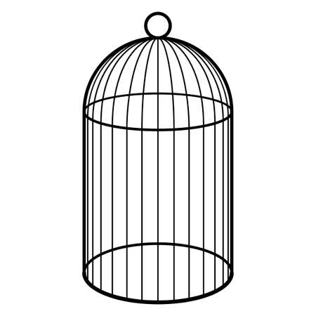 An empty cage for a bird. Black and white silhouette of a cage for a canary Illustration