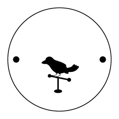 Thaumatrop の最初の側。止まり木に鳥。黒と白。19 世紀の古いアニメーション グッズ。ビクトリア朝のグッズ。
