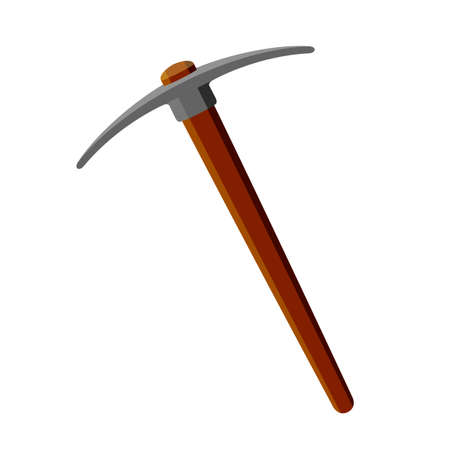 Metal pickax with brown wooden handle