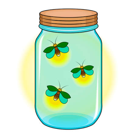 Bank with fireflies, Green firefly in a blue jar.