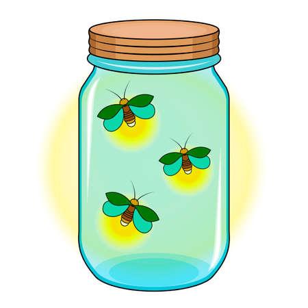 Bank mit Glühwürmchen, grüne Glühwürmchen in einem blauen Glas.