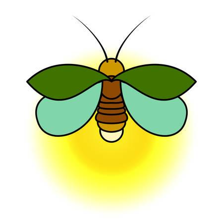 黄色い輝きを持つ緑色のホタル。シンプルな様式化された図面。 写真素材 - 93055059